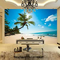 Empty 地中海スタイルのパームビーチの風景海のビーチの写真の壁紙リビングルームホテルの背景壁壁画パペルデパレード3Dサラ-350x250CM