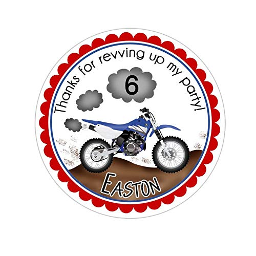 Yilooom Dirt Bike Stickers, Dirt Bike Birthday Party, Dirt Bike Party Stickers, Personalized Customized Birthday Party Favor Thank You Stickers, 4 Inch In Width - 6 Pcs
