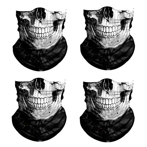 3D Skull Print Face Bandana Neck Gaiter for Men Women, Sun UV Wind Dust Protection Half Mask Magic Scarf, Cooling Reusable Skeleton Balaclava Headwear for Cycling, Hiking, Festivals-5