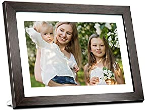 BIHIWOIA Digital Picture Frame WiFi 10.1 inch IPS Touch Screen HD Display Digital Photo Frame, 16GB Storage, Auto-Rotate, Share Photos &Videos via Frameo APP(Brown)