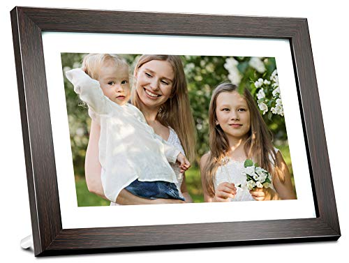 BIHIWOIA Digital Picture Frame WiFi 10.1 inch IPS Touch Screen HD Display Digital Photo Frame, 16GB Storage, Auto-Rotate, Share Photos &Videos via Frameo APP(Brown)