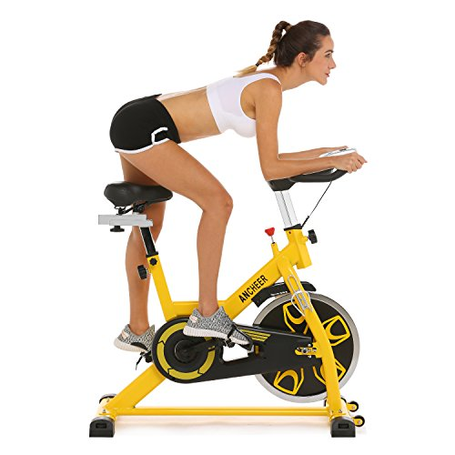 ANCHEER Indoor Cycling Bike - Stationary Exercise Bikes with 49LBS Flywheel, Adjustable Resistance and LCD Monitor for Home Exercise, APP Control (Lemon Yellow)