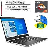 "HP 14 14"" Touchscreen Laptop Computer, AMD Ryzen 3 3200U up to 3.5GHz (Beats i5-7200U), 16GB DDR4, 1TB PCIe SSD, Microphone, Online Class Ready, Windows 10, BROAGE 3-in-1 Stylus 64GB Flash Drive"