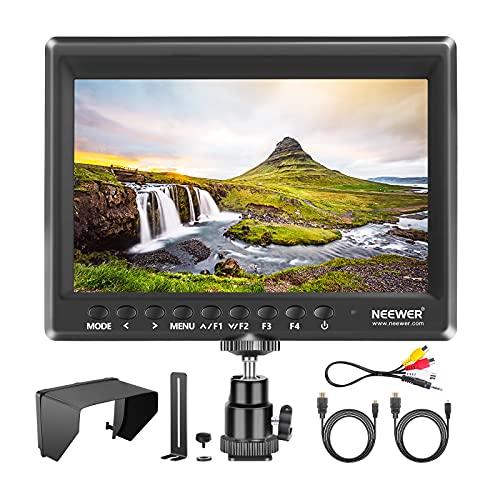 Neewer F100 7-Pouces 4k 1280x800 IPS Moniteur de Champ sur Caméra avec 1 Mini HDMI Câble pour BMPCC, AV Câble pour FPV, Ratio Affichage 16:10 ou 4:3 pour DSLR et Caméscope (Batterie Non Fournie)