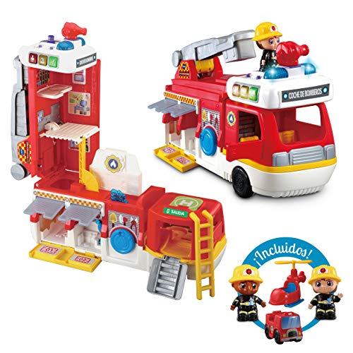 VTech- Camión de Bomberos 2 en 1, Convertible en estación. con más de 180 Canciones, Frases y melodías. (3480-529822)