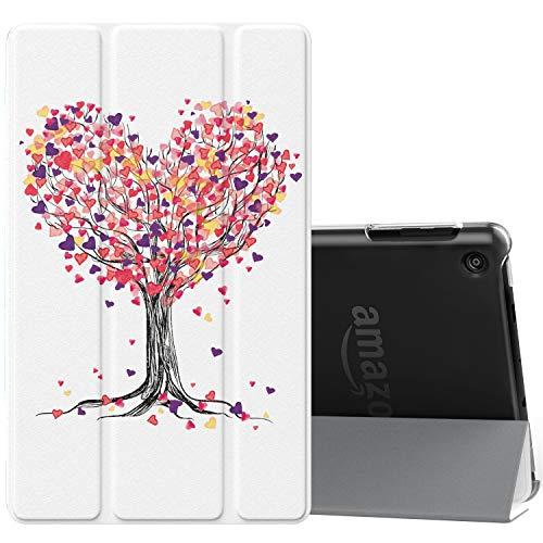 MoKo Hülle für Amazon Fire HD 8, PU Leder Tasche Schutzhülle Smart Hülle mit Translucent Rücken Deckel, mit Auto Schlaf/Wach Funktion für Fire HD 8 2017 und 2018 Tablet - Baum der Liebe