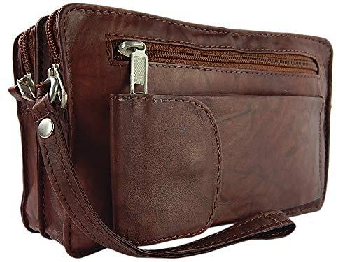 ekavale® elegante Dokumententasche Handgelenk-Herrentasche aus hochwertig verarbeitetem Leder mit praktische Trageschlaufe (Braun)