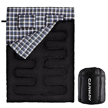 Canway Double Sleeping Bag Flannel Sleeping Bags with 2 Pillows for Camping, Backpacking, or Hiking Outdoor. 2 Person Waterproof Sleeping Bag for Adults or Teens. Queen Size XL (Flannel)