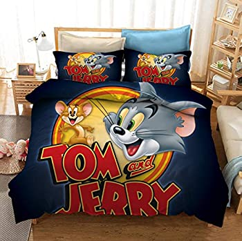 Mollyevers Tom and Jerry Bedding Set Twin Size 2 Piece Cute Classic Cartoon Kid s Duvet Cover Bedroom Set No Comforter Inside 1 Duvet Cover + 1 Pillowcase
