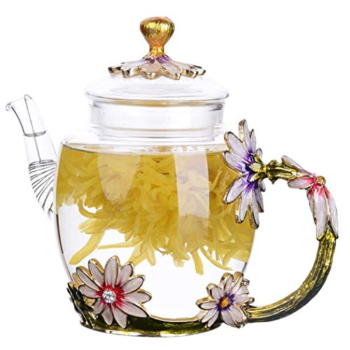 Glass Teapot -300 ml (10 oz) - Loose Leaf Kettle Flower Butterfly Decoration Heat Resistant Glass Teapot Kettle Loose Leaf Teapot Tea Party Set (Green)