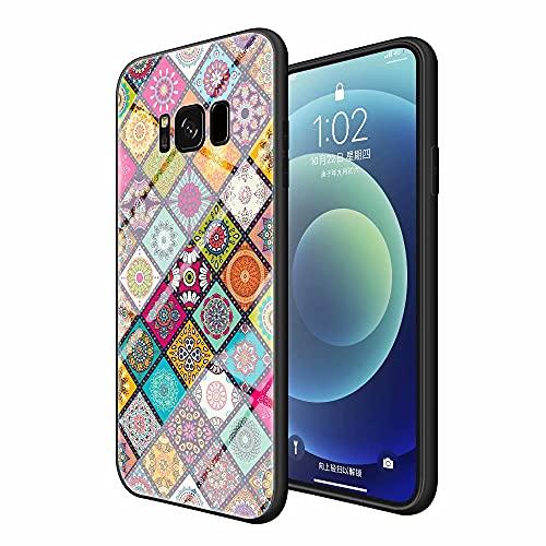 Miagon Glas Handyhülle für Samsung Galaxy S8 Plus,Totem Blume Serie 9H Panzerglas Rückseite mit Weicher Silikon Rahmen Kratzresistent Bumper Hülle,Kariert