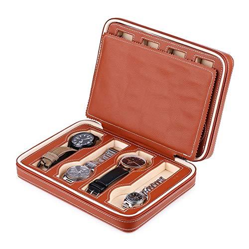 Reißverschlussuhren Box Travel Case, hochwertige Materialien, doppelter Reißverschluss, sicheres Design, Trennwand, verschleißfest, antioxidativ, praktisch