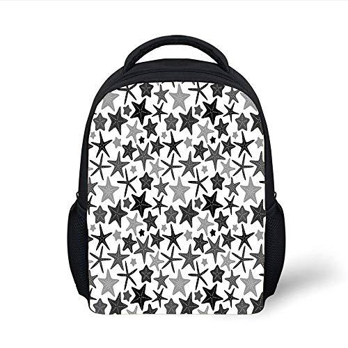 Kids School Backpack Dark Grey,Monochromatic Starfish Pattern Exotic Aquarium Fauna Underwater Wildlife Decorative,Black Grey White Plain Bookbag Travel Daypack