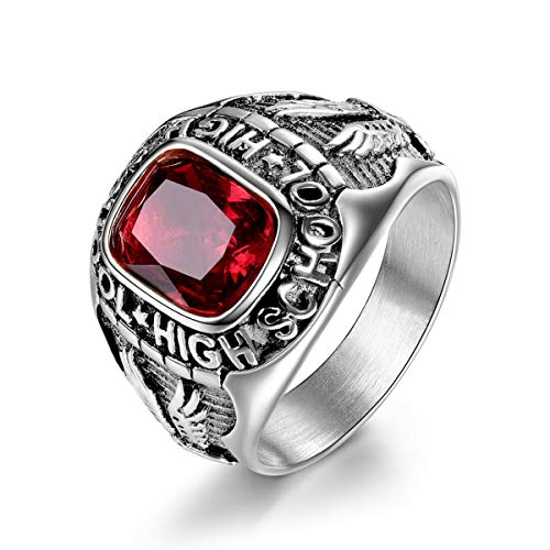 Syink Vintage Stainless Steel Rings Engraved High School Eagle, Rectangle Synthetic Ruby Crystal Fashion Jewelry for Men Boys Size 8