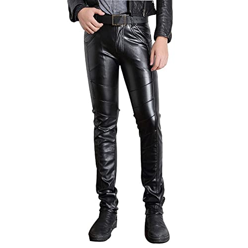 efcdc8f1a596 Moonwalk Men's Faux PU Leather Skinny Slim Fit Straight Leg Metallic Biker  Pants Black