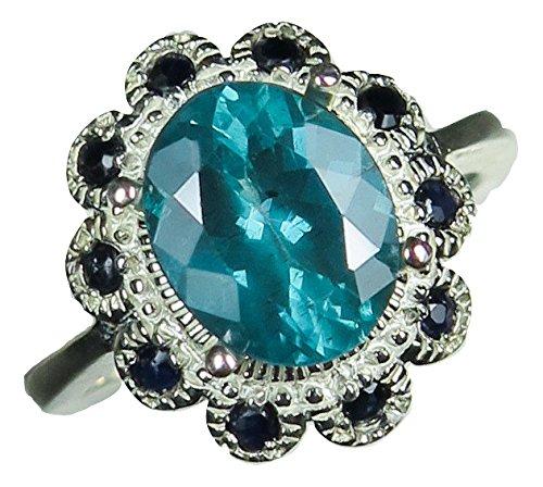 1,35Ct Natural color morado apatita & 925plata de ley Zafiro anillo de compromiso