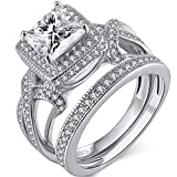 MABELLA Princess Cut Cubic Zirconia Wedding Rings for Women Halo Cz Infinity Engagement Bridal Ring Sets,925 Sterling Silver Gifts for Her,Size 8