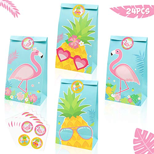 24 Pack Flamingo Party Goodie Bags Pineapple Candy Treat Bags with Thank You Stickers for kids Flamingo Birthday Party Supplies Hawaiian Luau Tropical Baby Shower Summer Decorations