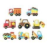 Stampini per biscotti per trasporto e veicoli con stencil abbinati, set di 16-8 tagliabiscotti e 8 stencil, tra cui camion, trattore, motore del fuoco, escavatore, gru, betoniera ecc.
