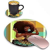 Log Zog ラウンドマウスパッド コースターセット アフリカ系アメリカ人の女の子デザイン マウスパッド ノンスリップゴムマウスパッド オフィスアクセサリー デスクデコレーション マウスパッド コンピューター/ノートパソコン用