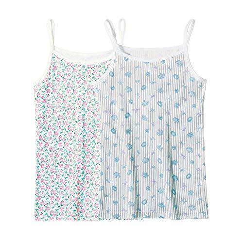 [ベルメゾン] キャミソール ガールズ 2柄 セット 胸元二重 インナーシャツ 綿100% ジュニアインナー 通学 お花とティアラ(ブルー系) 160