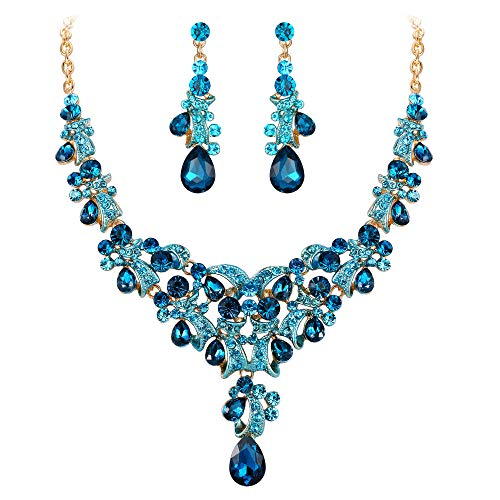 Clearine Schmuckset Hochzeit Braut Strass Kristall Teardrop Cluster Y-förmige Halskette und Ohrringe Set für Damen Blautopas Farbe Gold-Ton