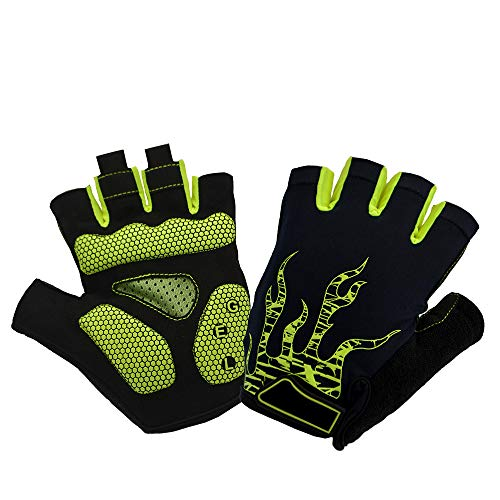 Guantes de ciclismo de medio dedo guantes antideslizantes de absorción de golpes...
