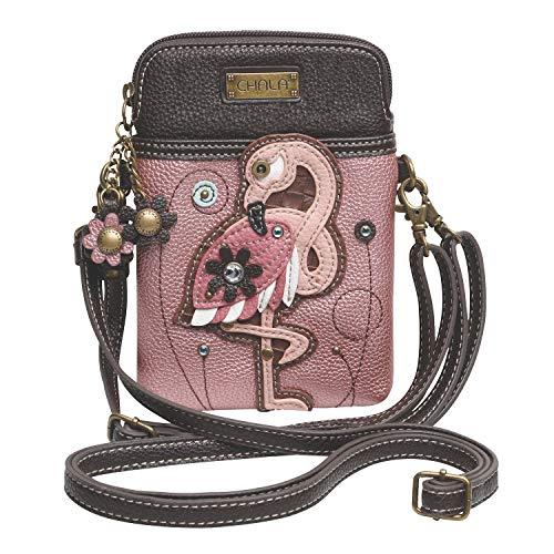 Chala Crossbody Cell Phone Purse-Women PU Leather Multicolor Handbag with Adjustable Strap - Flamingo Pink