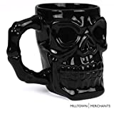 Milltown Merchants Black Skull Mug - Skull Beer Stein Tankard - Ceramic Skull Coffee Mug - Gothic Beer Mug - HUGE 32 Ounce Capacity