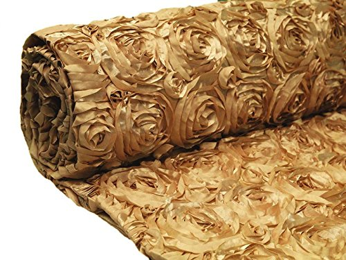 BalsaCircle 54-Inch x 4 Yards Gold Satin Raised Rosettes Fabric by The Bolt - Sewing Craft Bridal Supplies