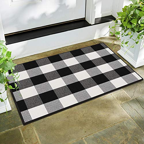AerWo Cotton Buffalo Plaid Rug 24 x 36 Inches, Black and White Buffalo Check Rug, Outdoor Rug Hand-Woven Washable Door Mat and Front Porch Mat for Home Bathroom Kitchen Room Farmhouse Decor
