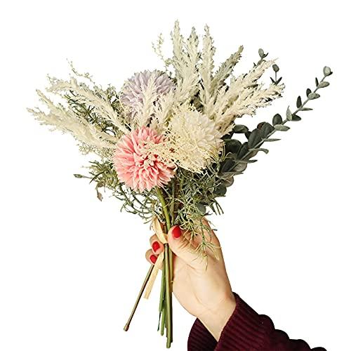 RoxNvm Flores Artificiales, Ramo Artificial, Flores Decorativas realistas Flores Falsas Flores de Seda para Fiesta en casa Boda Oficina Patio Mesa Decoración de Escritorio (Rosa Morado)