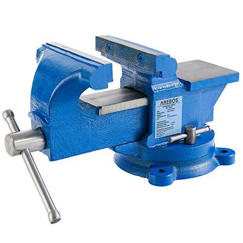 Arebos Étaux parallèle d'établi acier avec enclume plateau tournant 360°/100, 125 ou 150 mm (125 mm)