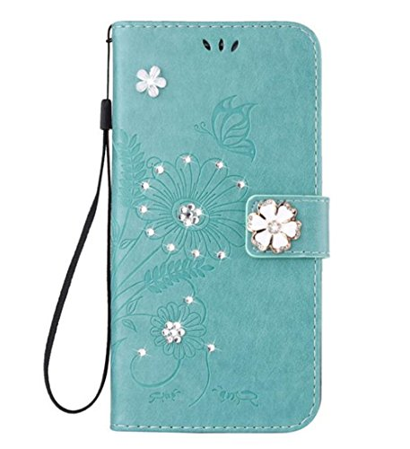 iPhone 6 Glamour Rhinestone Case,Inspirationc 3D Handmade Shiny Glitter Butterfly Lotus Case PU Leather Credit Card Stand Wallet Cover with Strip for iPhone 6/6S 4.7 Inch--Green