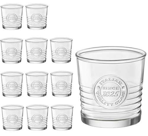 Bormioli Set di 12 bicchieri da whisky Officina da 30 cl, diametro ca. 8,5 cm, bicchiere da cognac, vetro rumoroso, vetro per liquori
