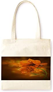 Cotton Canvas Tote Bag Modern Orange Flower Farmhouse Style Party Printed Casual Large Shopping Bag for School Picnic Travel Groceries Books Handbag Design