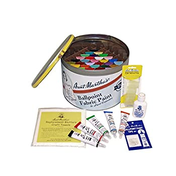 Aunt Martha s Full Stocked Ballpoint Paint Color Caddie Fully Loaded with 34 Paints and Accessories