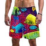 YATELI Pantalones Cortos de Playa Pantalones Cortos para Hombre de Secado rápido,Pescado exótico Mundo Submarino,Shorts de baño con Forro de Malla