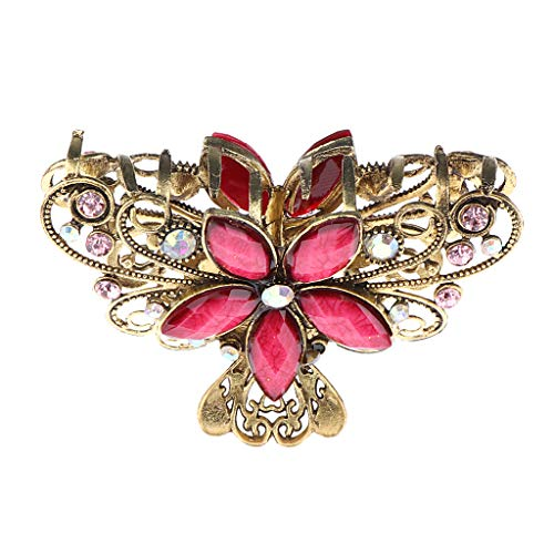 Non-brand Vintage Metall Haargreifer Dame Diamante Strass Schmetterling - rot