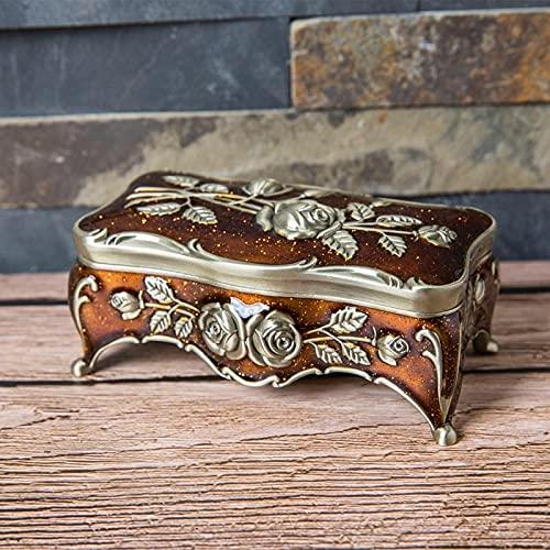 yonghe Caja de joyería vintage de tamaño S con esmalte multicolor de aleación de zinc y metal, caja de almacenamiento de hisopo de algodón para regalo tallado con flores, color Br-147