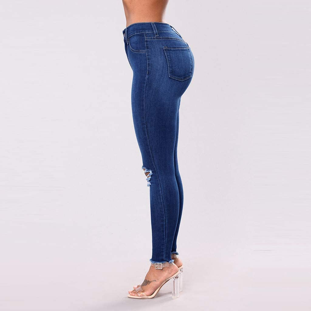 Women/'s High Waist Denim Skinny Jeans Distressed Ripped Butt Lifting Stretchy Jeans Cut Up Casual Hem Denim Pants