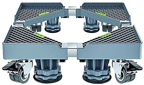Ghongrm Máquina de Lavado móvil Muebles telescópicos Soporte con 4 Ruedas 4 piernas 4 Patas de Lavadora Ajustable Pedestal 40-68cm Frigorífico congelador Ruedas de Stent Altura: 9-12 cm (Color: Gris)