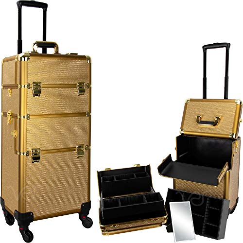 Ver Beauty 2-in-1 Hair Stylist Organizer Makeup Rolling Case, Krystal Gold