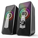 10W Altavoz PC Sobremesa, Bluetooth Gaming USB de Ordenador Sobremesa, Barra de Sonido RGB Mejorado con Botón Giratorio, para Ordenador Portátil, Móvil, Tableta, Fiesta, Regalo