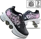 ANXWA Zapatos De Patines con Deformación Multifuncional Patines De Cuatro Ruedas Patines De Patinaje Calzado Deportivo para Adultos,Black-39