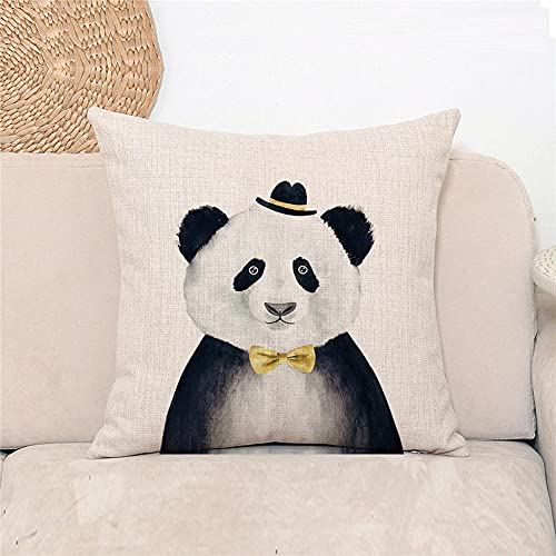 YINGZG Cushion Covers 55x55cm 22x22 Inch Panda Square Throw Pillow Case Linen Cotton Cushion Covers with Invisible Zipper Decorative Cushion Covers for Sofa Bedroom Z1609