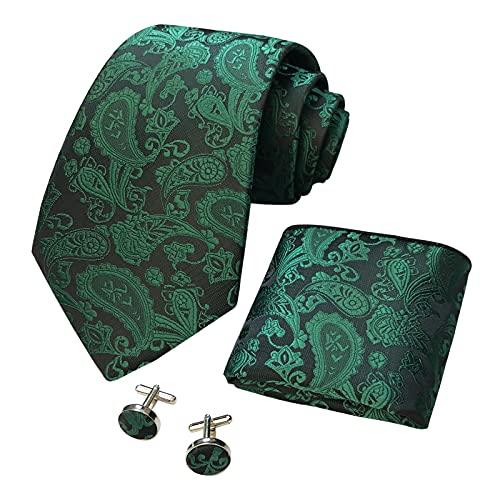 CANGRON Uomo Green Paisley Cravatta Fazzoletto da taschino da uomo intrecciato con gemelli Tie Set DLSPXLV