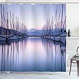 Juego de cortinas de ducha para decoración de veleros,gran puerto de yates con luz del amanecer,crucero,ocio,verano,vida activa,accesorios de baño,extra con 12 ganchos de plástico de 180x180 cm