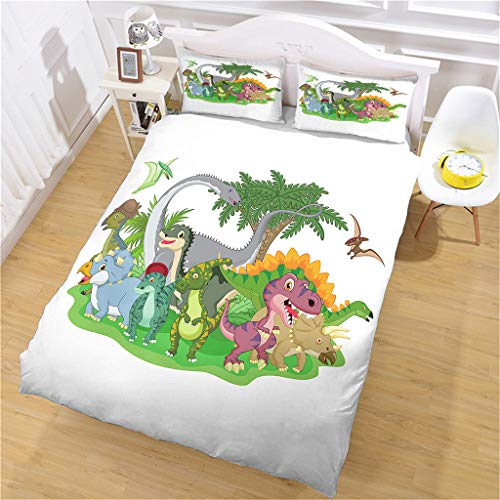 HHANN Duvet Cover Set Single Bed 135X200cm 3 Pieces Bedding Set Cartoon Dinosaur World Microfiber Duvet Cover With 2 Pillowcases, Ultra Soft Hypoallergenic Quilt Cover Set, For Kids Baby