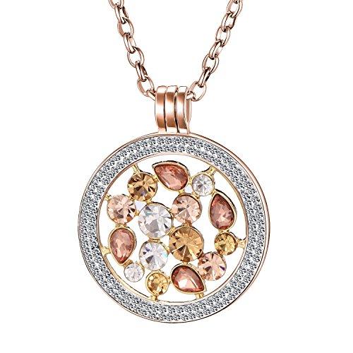 Morella Damen Halskette Rosegold 70 cm Edelstahl und Zirkonia Anhänger mit Coin Tropfen 33 mm im Schmuckbeutel